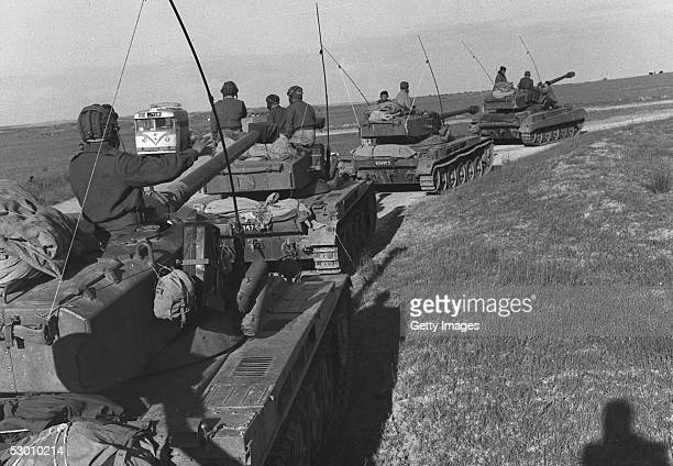 More than four months after Israel's first occupation of this wartorn area the last Israeli tanks withdraw March 7 1957 from Rafah in the southern...