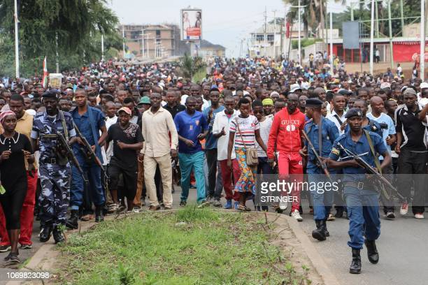 More than seven thousand people demonstrate against the chairman of the African Union Commission Moussa Faki who addressed the statement against the...