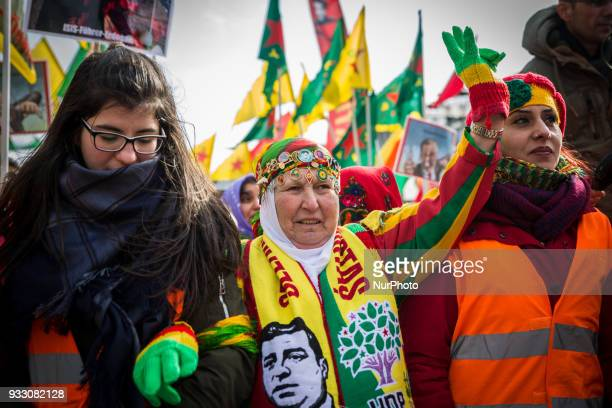 More than ten thousand people demonstrated in Hannover Germany on 17 March 2017 against the turkish military offensive in north syria During the...