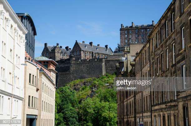 CONTENT] A more unusual view of Edinburgh Castle looking northeast down the City's Cornwall Street On the left of the image part of the Lyceum...