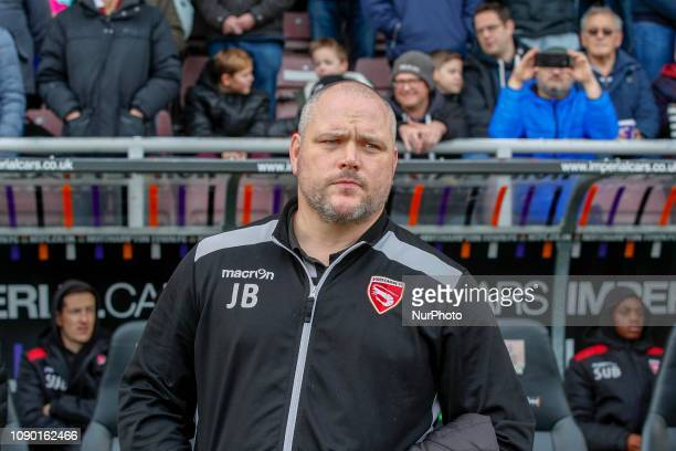 Morecambe's manager Jim Bentley during the Sky Bet League 2 match between Northampton Town and Morecambe at the PTS Academy Stadium Northampton on...