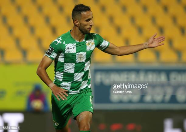 Moreirense FC defender Mohamed Aberhoun from Morrocco celebrates after scoring a goal during the Primeira Liga match between GD Estoril Praia and...