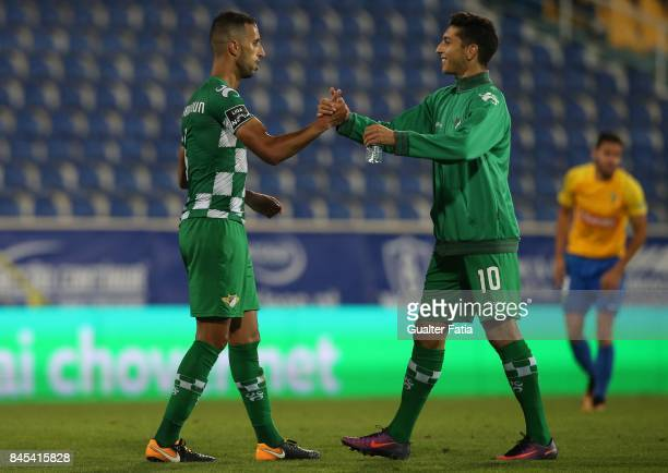 Moreirense FC defender Mohamed Aberhoun from Morrocco celebrates the victory with teammate Moreirense FC midfielder Aouacheria at the end of the...