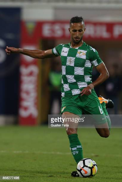Moreirense FC defender Mohamed Aberhoun from Morrocco in action during the Primeira Liga match between GD Estoril Praia and Moreirense FC at Estadio...