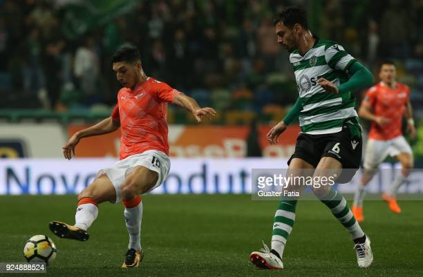 Moreirense FC forward Bilel Aouacheria from France with Sporting CP defender Andre Pinto from Portugal in action during the Primeira Liga match...