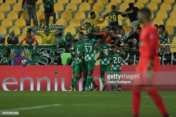 Moreirense FC forward Zizo celebrates scoring Moreirense second goal with his team mates during the match between GD Estoril Praia and Moreirense FC...