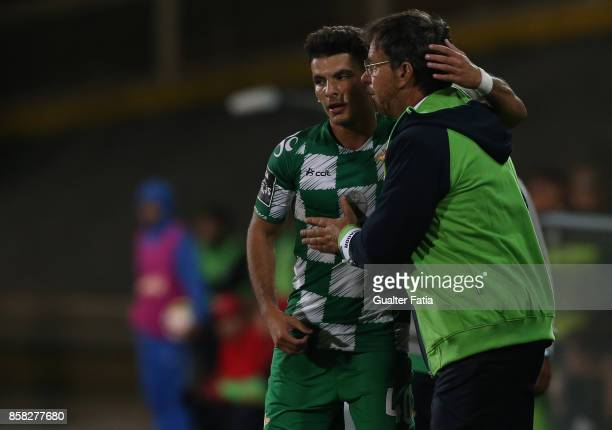 Moreirense FC forward Zizo from Egypt celebrates with Moreirense FC head coach Manuel Machado from Portugal after scoring a goal during the Primeira...