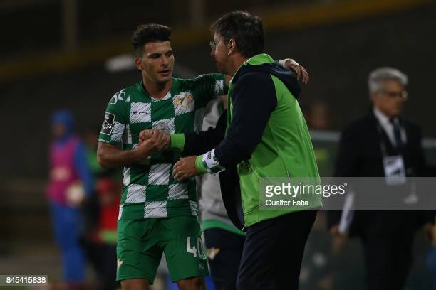 Moreirense FC forward Zizo from Portugal celebrates with Moreirense FC head coach Manuel Machado from Portugal after scoring a goal during the...