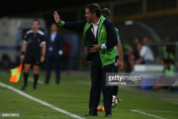 Moreirense FC head coach Manuel Machado from Portugal in action during the Primeira Liga match between GD Estoril Praia and Moreirense FC at Estadio...