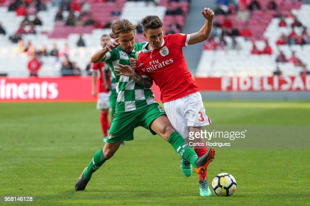 Moreirense FC midfielder Alan Schons from Brazil vies with SL Benfica defender Alejandro Grimaldo from Spain for the ball possession during the...