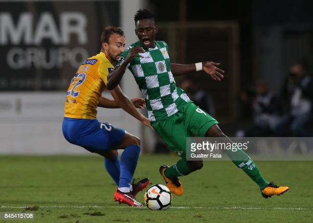 Moreirense FC midfielder Alfa Semedo from Guinea Bissau with GD Estoril Praia forward Andre Claro from Portugal in action during the Primeira Liga...