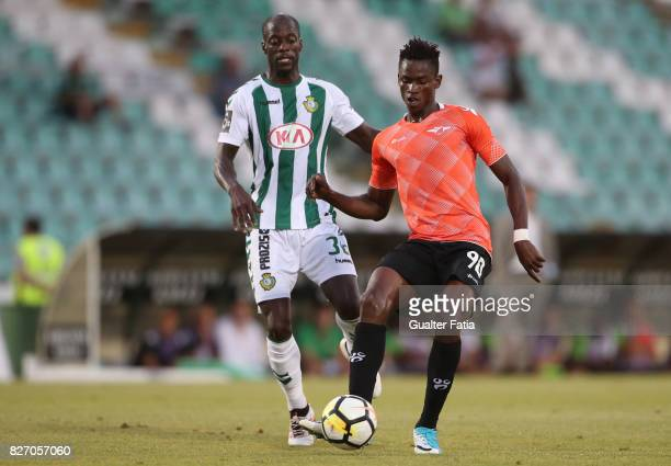 Moreirense FC midfielder Alfa Semedo from Guinea Bissau with Vitoria Setubal forward Edinho from Portugal in action during the Primeira Liga match...