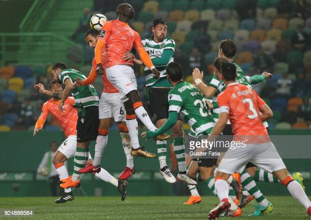 Moreirense FC midfielder Boubacar Fofana from Guinea Conakry with Sporting CP defender Andre Pinto from Portugal and Moreirense FC defender Mohamed...