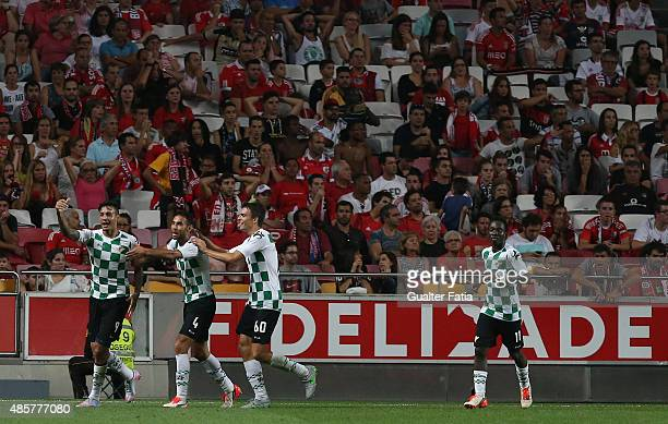 Moreirense FC's forward Cardozo celebrates with teammates after scoring a goal during the Primeira Liga match between SL Benfica and Moreirense FC at...