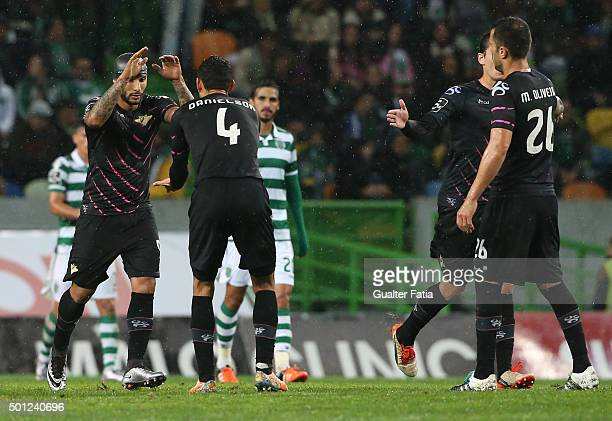 Moreirense FC's forward Rafael Martins celebrates with teammates after scoring a goal during the Primeira Liga match between Sporting CP and...