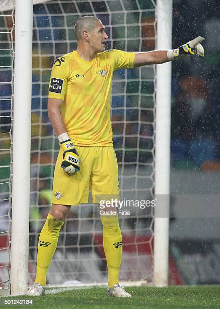 Moreirense FC's goalkeeper Igor Stefanovic in action during the Primeira Liga match between Sporting CP and Moreirense FC at Estadio Jose Alvalade on...
