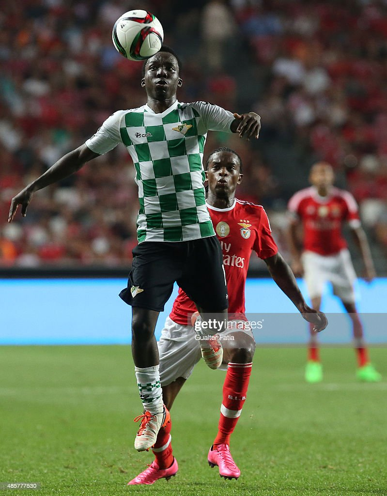 Moreirense FC's midfielder Ernest with SL Benfica's defender Nelson Semedo in action during the Primeira Liga match between SL Benfica and Moreirense FC at Estadio da Luz on August 29, 2015 in Lisbon, Portugal.