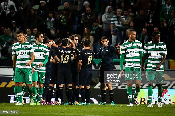 Moreirense players celebrating the goal scored by Moreirense's forward Ramon Cardozo during the Portuguese League football match between Sporting CP...
