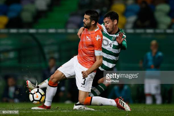 Moreirense's defender Andre Micael vies for the ball with Sporting's defender Andre Pinto during Primeira Liga 2017/18 match between Sporting CP vs...