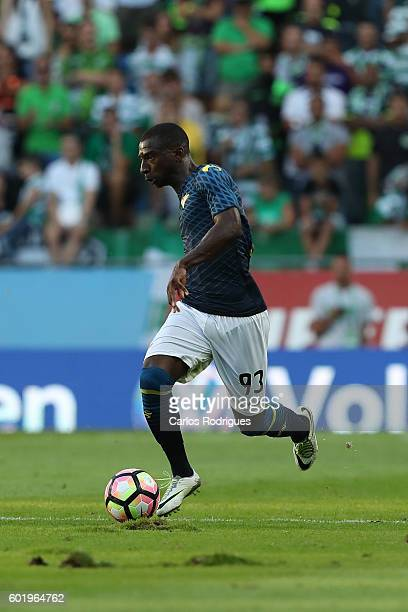 Moreirense«s forward Ousmane Drame from France during the Portuguese Primeira Liga between Sporting CP and Moreirense FC at Estadio Jose Alvalade on...