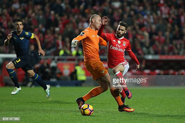 Moreirenses goalkeeper Giorgi Makaridze with Benficas forward Rafa Silva from Portugal during Premier League 2016/17 match between SL Benfica and...