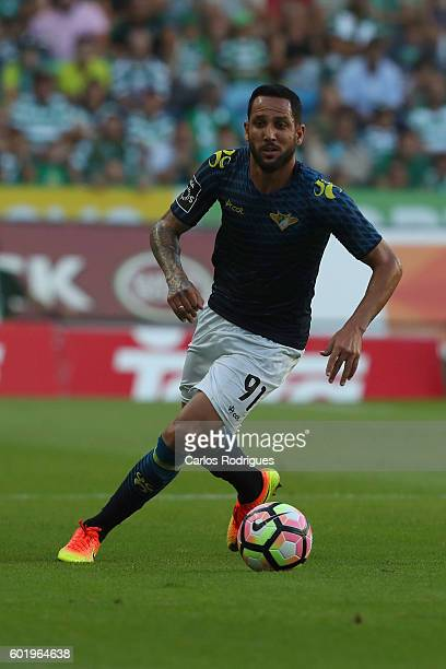 Moreirense«s midfielder Angelo Neto from Brasil during the Portuguese Primeira Liga between Sporting CP and Moreirense FC at Estadio Jose Alvalade on...