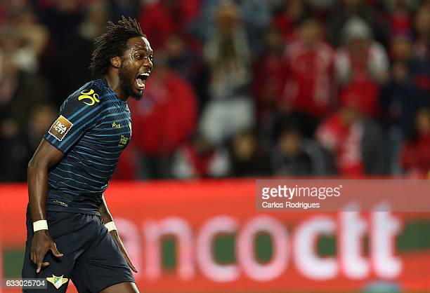 Moreirense's midfielder Caue from Brasil celebrates scoring Moreirense's first goal during the Portuguese League Cup Final between Moreirense FC v SC...