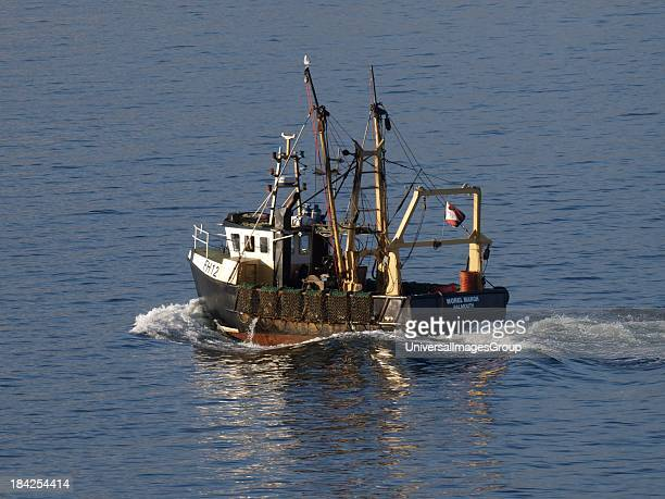 Morel Margh A commercial scallop dredging trawler Falmouth Bay Cornwall UK