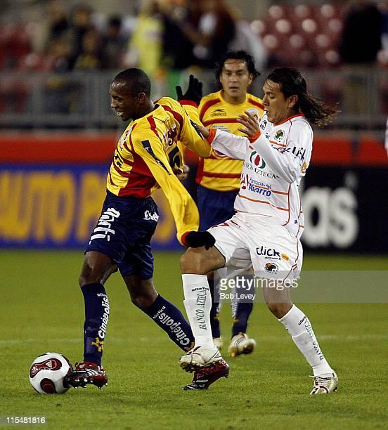 Morelia midfielder Wilson Matias is harassed by Jaguares defenders during InterLiga 2007 action between Jaguares and Morelia , Jan. 4, 2007 at...