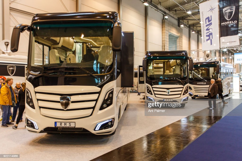 Morelo motorhomes on display at the Reise + Camping Exhibition on February 21, 2018 in Essen, Germany. The annual event features over 1000 exhibitors from over 20 countries.