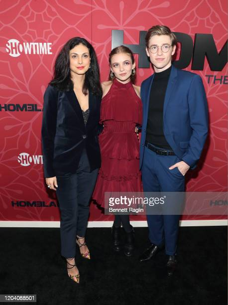 Morena Baccarin Morgan Saylor and Jackson Pace attend the Homeland Season 8 premiere at Museum of Modern Art on February 04 2020 in New York City
