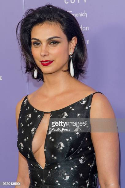 Morena Baccarin wearing dress by Zac Posen attends 2018 Fragrance Foundation Awards at Alice Tully Hall at Lincoln Center