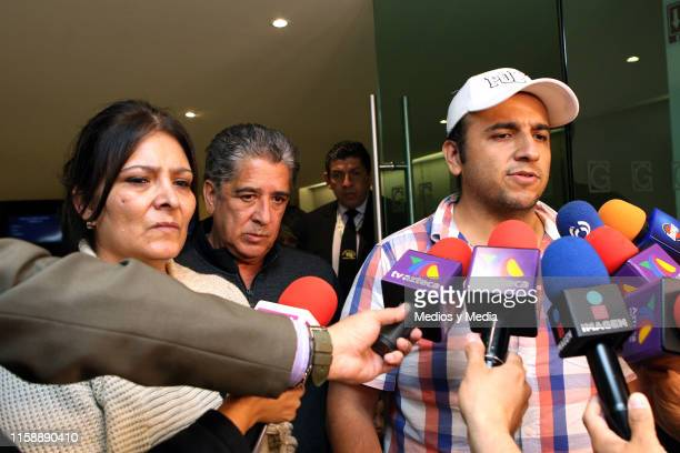 Morena Castro and Italo Castro speaks to the media during the funeral of singer actor and television presenter Gualberto Castro on June 28 2019 in...