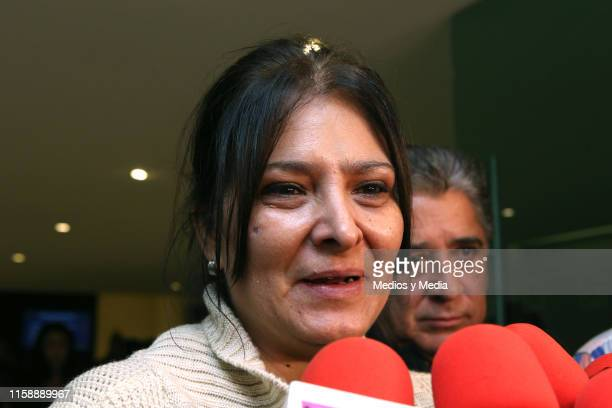 Morena Castro speaks to the media during the funeral of singer actor and television presenter Gualberto Castro on June 28 2019 in Mexico City Mexico...