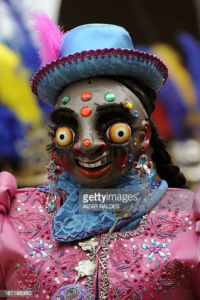 A Morenada Central Cocanis brotherhood dancer performs during the Carnival of Oruro in the mining town of Oruro 240 km south of La Paz on February 9...