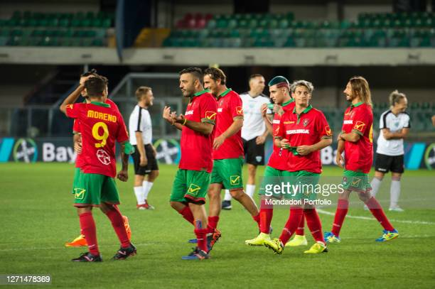 Moreno, Amedeo Grieco, Nicola Ventola, Boro Boro, Melania Gabbiadini and Bob Sinclar with red-green uniform at the Match of the Heart live from the...