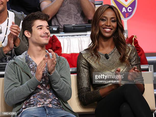 Moreno and Ainett Stephens attend 'Quelli Che Il Calcio' Italian TV Show on October 27 2013 in Milan Italy
