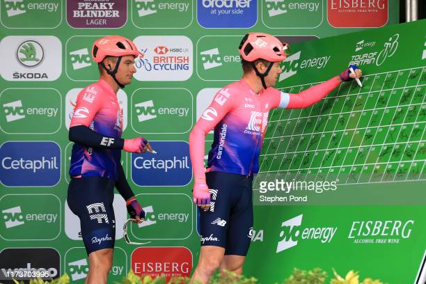 Moreno Hofland of The Netherlands and EF Education First Pro Cycling / Simon Clarke of Australia and EF Education First Pro Cycling / during the 16th...