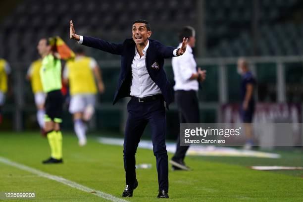 Moreno Longo, head coach of Torino FC, gestures during the the Serie A match between Torino Fc and Brescia Calcio. Torino Fc wins 3-1 over Brescia...