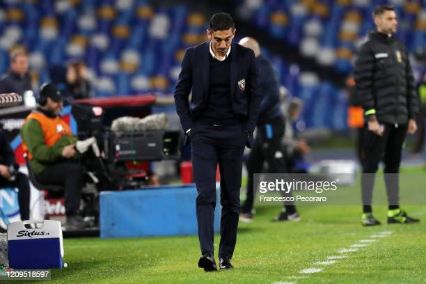Moreno Longo Torino FC coach stands disappointed during the Serie A match between SSC Napoli and Torino FC at Stadio San Paolo on February 29 2020 in...