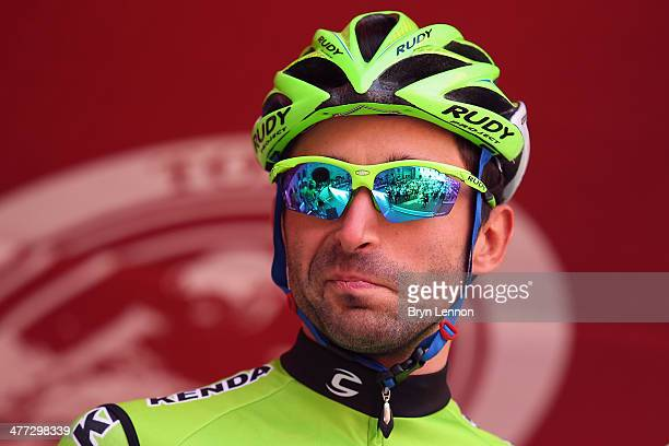 Moreno Moser of Italy and Cannondale looks on at the start of the 2014 Strade Bianchi from to San Gimignano to Siena ll Campo on March 8 2014 in San...