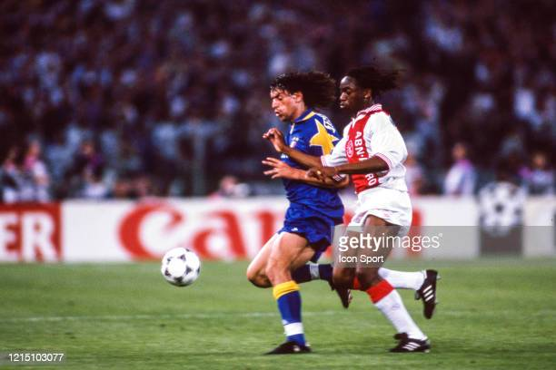 Moreno TORRICELLI of Juventus and Finidi GEORGE of Ajax during the Champions League Final match between Ajax Amsterdam and Juventus Turin at Stadio...
