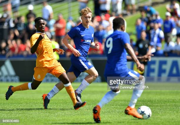 Moreto Cassamá of Porto in action against Daishawn Redan and Luke McCormick of Chelsea during the UEFA Youth League Semi Final between Chelsea FC and...