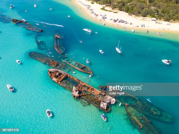 moreton island wrecks - queensland stock pictures, royalty-free photos & images