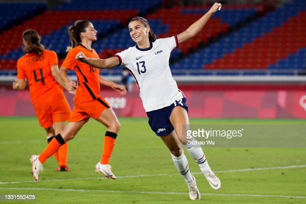Morgan Alex of United States celebrates but no goal judged by VAR during the Women's Quarter Final match between Netherlands and United States on day...