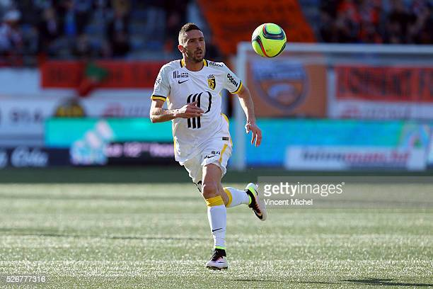 Morgan Amalfitano of Lille during the French Ligue 1 match between Fc Lorient and Lille OSC at Stade du Moustoir on April 30, 2016 in Lorient, France.