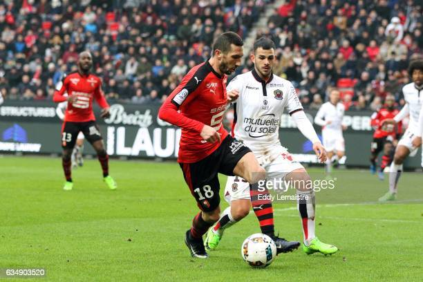 Morgan Amalfitano of Rennes and Valentin Eysseric of Nice during the Ligue 1 match between Stade Rennais and OGC Nice at Roazhon Park on February 12...