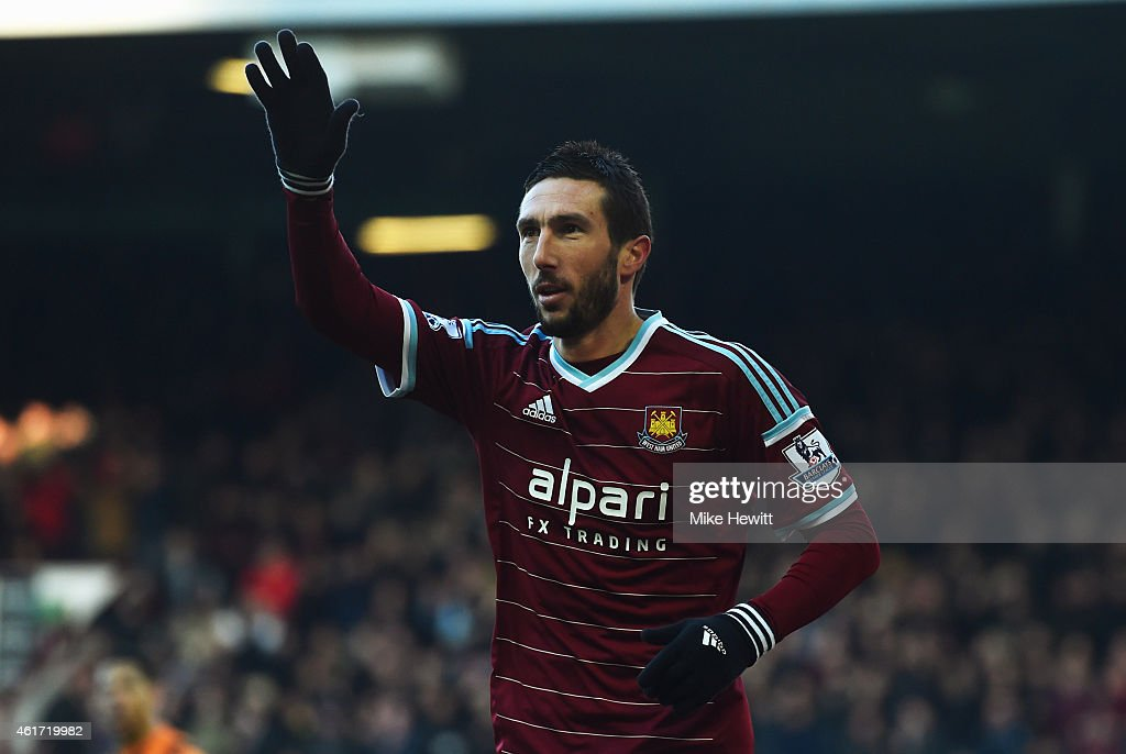 Morgan Amalfitano of West Ham United celebrates as he scores their second goal during the Barclays Premier League match between West Ham United and Hull City at Boleyn Ground on January 18, 2015 in London, England.