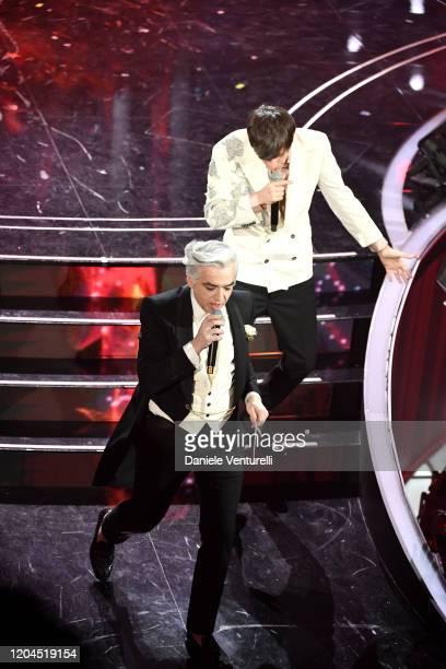 Morgan and Bugo attend the 70° Festival di Sanremo at Teatro Ariston on February 06 2020 in Sanremo Italy