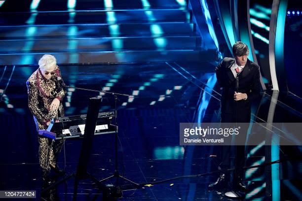 Morgan and Bugo attend the 70° Festival di Sanremo at Teatro Ariston on February 07 2020 in Sanremo Italy